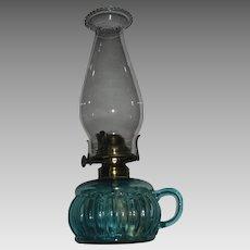 Blue Glass Kerosene Oil Finger Lamp