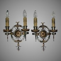 Spanish Revival Double Candle Sconces - Original Finish