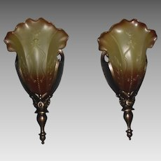 Cast Bronze Art Deco Slip Shade Wall Sconces - large back plate