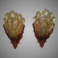 Rare Champion Art Deco Slip Shade Wall Sconces - pair