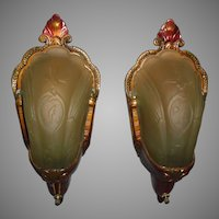 Art Deco Slip Shade Wall Sconces - Amber Shades