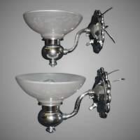 Art Deco Machine Age Wall Sconces: Chrome Plate over Brass with Frosted, Embossed Shades
