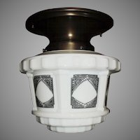 Art Deco Large Stylized Black on White Step Shade in Brass Fixture