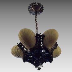 Art Deco Slip Shade 5 Light Cast Bronze Chandelier - Midwest Lighting