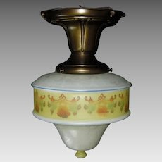 Bellova Colored and Acid Etched Glass Shade in Decorated Brass Ceiling Fixture