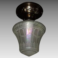 Decorated Brass Ceiling Fixture with Iridescent Acid Etched Glass Shade