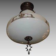Large Kayline Decorated Ceiling Light in Original Bronze Fixture