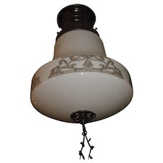 Kayline Radiant Ceiling Light -Decorated Milk Glass Shade in Original Bronze Fixture