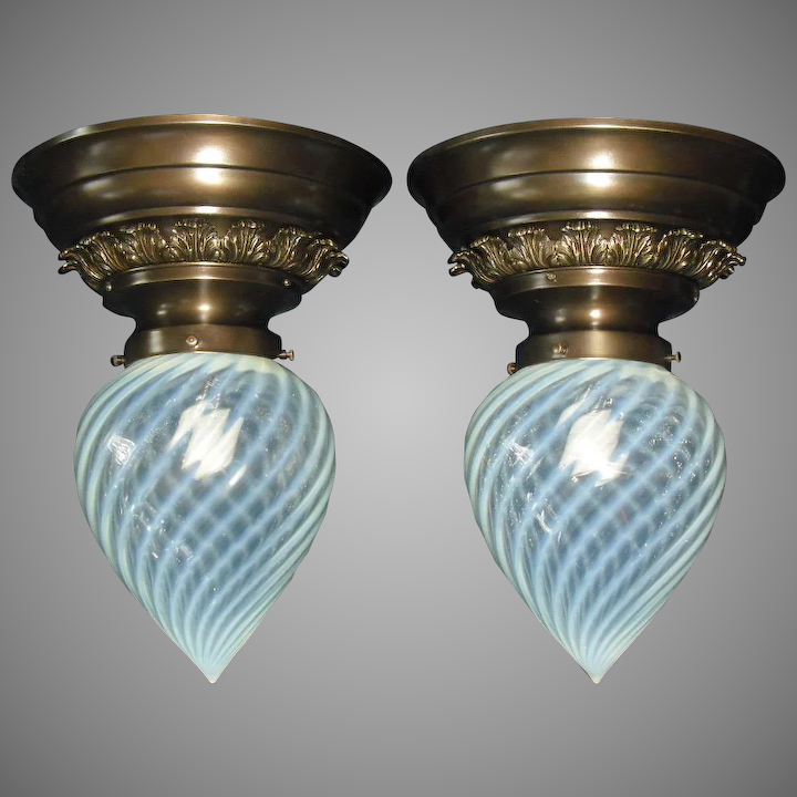Victorian Phoenix Opalescent Swirl Gl Shades In Fancy Br Ceiling Light Fixtures Matched Pair