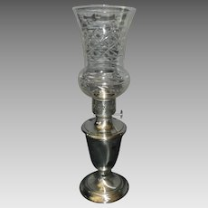 Gorham Silverplate Hurricane Oil Lamp with Cut Glass Shade