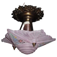 Consolidated Glass Mauve Decorated Ceiling Light with Bronze Fixture