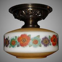 Bellova Colored, Acid Etched Glass Shade in Highly Decorated Brass Ceiling Fixture