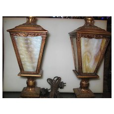 Neoclassical Entry or Mantle Lights w Slag Glass Panels