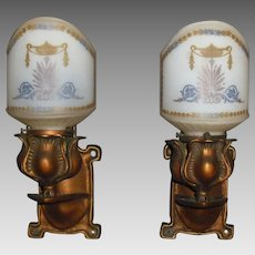 Arts and Crafts Cast Brass Wall Sconces with Decorated Glass Shades
