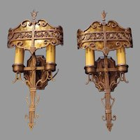 Lincoln Cast Bronze Double Candle Wall Sconces with Mica Shields - 2 pair available