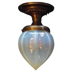 Victorian Heavy Ribbed Blue Opalescent Glass Shade in Decorated Brass Ceiling Fixture