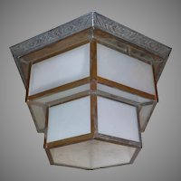 Art Deco Hexagonal Glass Ceiling Light Fixture