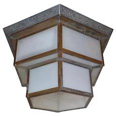 Art Deco Hexagonal Glass Ceiling Light Fixture