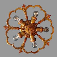 Spanish Revival 5 Light Ceiling Fixture with Polychrome Finish