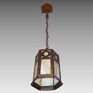 Arts and Crafts Pendant Light - Iron with Caramel Slag Glass - Original Polychrome Finish