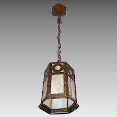 Arts and Crafts Pendant Light - Iron with Caramel Slag Glass - Original Polychrome Finish
