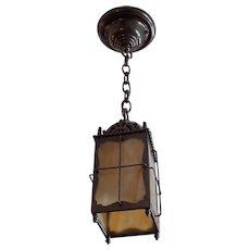Transitional Pendant Light - Brass with Caramel Slag Glass