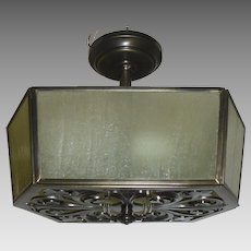 Cast Brass with Amber Seed Glass Ceiling Light Fixture - 2 available