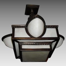 Exceptional Stylized Art Deco Ceiling Light - Cast Brass with Marbled Milk Glass