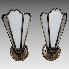 Art Deco Sconces - Cast Brass with Opalescent White Glue Chip Glass Panels