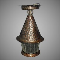 Arts and Crafts Porch Ceiling Light - Copper with Leaded Glass