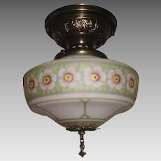 Decorated Glass Ceiling Light with Brass Fixture