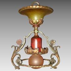 Spanish Revival Flush Mount Ceiling Light Fixture - Original Finish