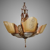 Art Deco Slip Shade 5 Light Chandelier - Markel