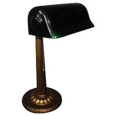 Verdelite Adjustable Desk Lamp with Original Green Cased Glass Shade
