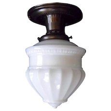 Embossed Milk Glass Shade in Decorated Brass Ceiling Light Fixture