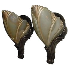 Cast Bronze Art Deco Sconces with Iridescent Slip Shades