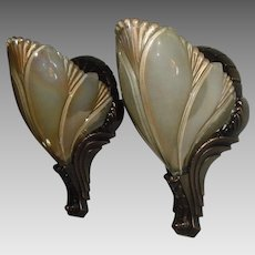 Cast Bronze Art Deco Sconces with Iridescent Slip Shades