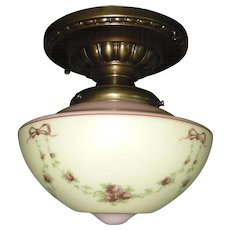 Decorated Brass Ceiling Light Fixture with Painted Glass Shade