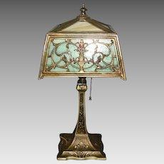 Miller Two Color Slag Glass Desk or Table Lamp