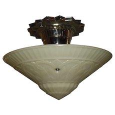 Virden Art Deco Ceiling Light - Original Nickel Plate Fixture - 2 available