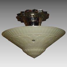 Virden Art Deco Ceiling Light - Original Nickel Plate Fixture