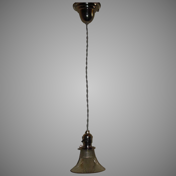 Pair - Holophane Pagoda Glass Pendant Lights with Nickel Plate Fixtures