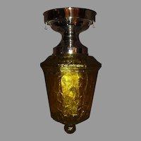 Art Deco Vaseline Crackle Glass Shade in Nickel Plate Ceiling Light Fixture