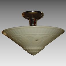 Large Virden Art Deco Machine Age Ceiling Light in Nickel Plate Fixture
