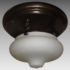 Arts and Crafts Brass with Frosted Milk Glass Flush Mount Ceiling Light