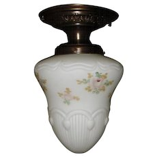 Painted and Embossed Bristol Glass Shade in Decorated Brass Ceiling Fixture