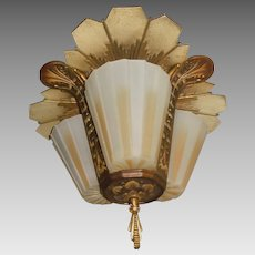 Beardslee Art Deco Slip Shade 3 Light Ceiling Fixture
