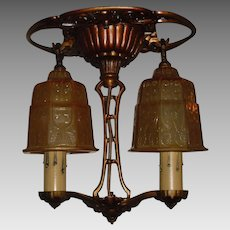 Riddle Art Deco 2 Light Ceiling Fixture