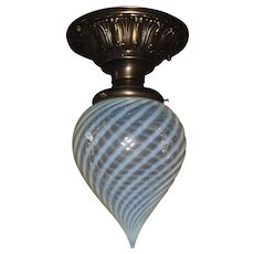 Blue Opalescent Swirl Tear Drop Shade in Decorated Brass Ceiling Light Fixture