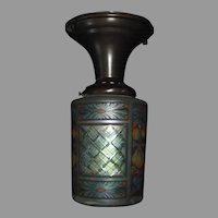 Colored, Acid Etched, Cut Glass Shade in Brass Ceiling Light Fixture